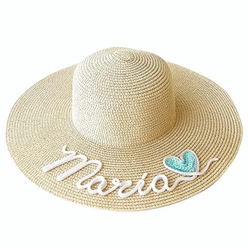 BODELEI Pamela de Playa Personalizada con Nombre Hecha a Mano con cordón o Lentejuela. Añade uno de Nuestros símbolos Despedidas de Soltera. Sombrero de Playa para Mujer