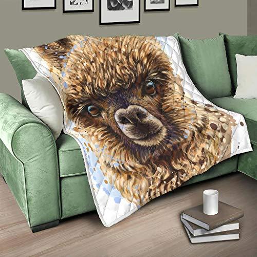 Bedspread Blanket Quilt Alpaca Animal Quilt Cuddly Blanket Warm Travel Blanket White 130 x 150 cm