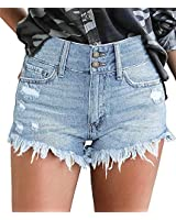 onlypuff Jean Shorts for Women High Waisted Casual Pants Cuffed Distroyed Blue M