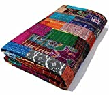 Twin / King Indian Bettdecke Ethnic Throws Patchwork Indian Quilt Cover Alte böhmische Seide Saree Kantha Tagesdecke Vintage Patola Quilt (Multi, King 90