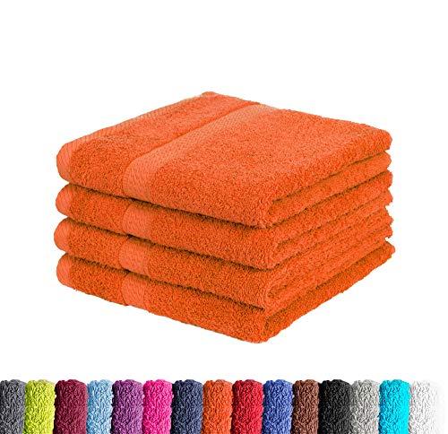 4er Pack zum Sparpreis Frottier Handtuch in vielen Farben 100% Baumwolle 500 g/m², 4X Handtücher 50x100 cm Terra