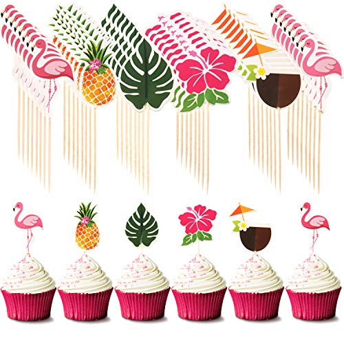 Hawaiian Luau Cupcake Toppers Cake Picks Toothpicks Decoration with Flamingo Pineapple Palm Leaves Shape for Summer Party Supplies Cake Decoration, 6 Styles (72)