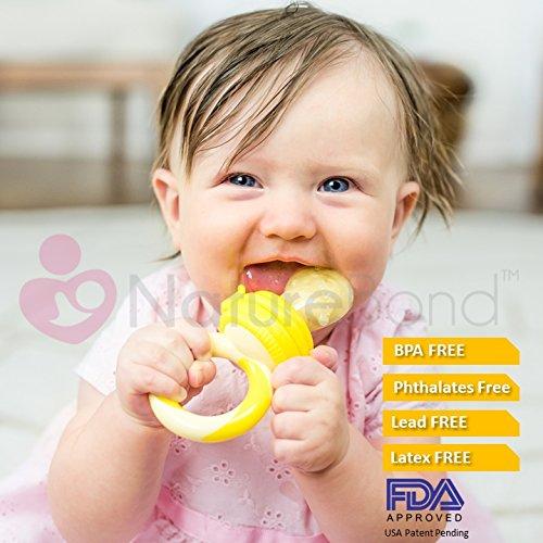 NatureBond Baby Fruit Feeder Babynahrung Nahrungsmittelzufuhr / Fruchtsauger Schnuller (2 Stück) – Baby Beißring in appetitanregenden Farben   Inklusive Bonus Silikon-Nippel (alle Größen) - 5