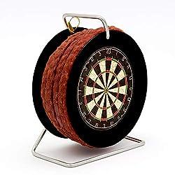 WURSTBARON® - Wurst Dartscheibe Dartboard - 3,5 Meter Snack Salami nach Krakauer Art auf einer Mini Rolle Trommel schwarz - 240 g