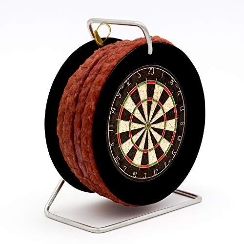 Wurst Dartscheibe Dartboard - 3,5 Meter Snack nach Krakauer Art auf einer Mini Rolle Trommel schwarz - 240 g