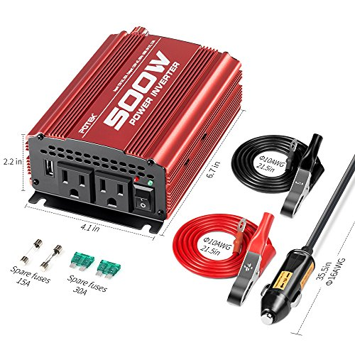 POTEK 500W Car Power Inverter DC 12V to AC 110V with 2AC outlets and 2A USB Port