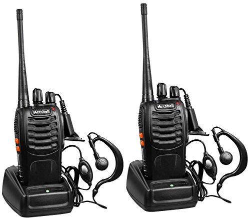 Arcshell Rechargeable Long Range Two-Way Radios with Earpiece 2 Pack UHF 400.025-469.975Mhz Walkie...