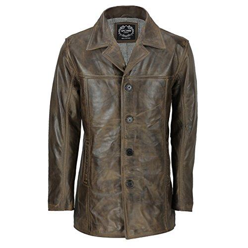 Xposed Chaqueta Reefer de cuero para hombre, estilo retro, estilo retro, color marrón envejecido