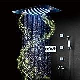 Conjunto de Ducha,RGB Música LED Caliente y fría Sistema de Ducha,304 Acero Inoxidable Columna de Ducha,580x380 mm Sistema de Ducha,Cascada Modo de Lluvia,Lluvia Ducha Set(Aplicación movil)