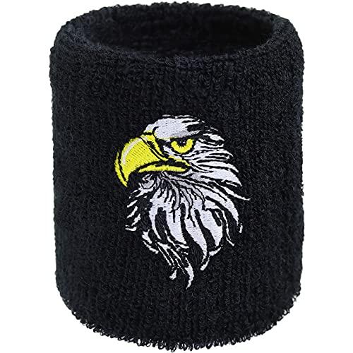 Muñequera para el sudor con diseño de águila, bordada, para deportes extremos, con tejido de rizo absorbente, color negro