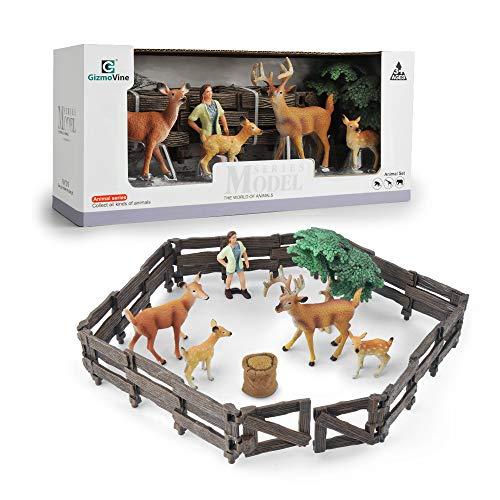 GizmoVine Animali Set Figurine Cervo Realistico Animale Fattoria Giochi Neonati Giocattolo educativo in plastica per Bambini