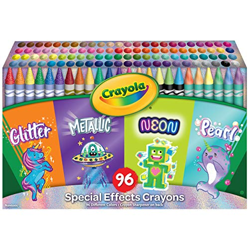 Crayola 96 Crayons, Neon, Metallic, Pearlescent & Glitter Crayons, Coloring Supplies, Gift for Kids