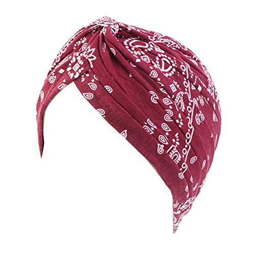 Vobony Kopftuch Damen Chemotherapie Blumenmuster Baumwolle Turban kopfbedeckung Headwrap Schlaf Kappe Bandana für Haarverlust (#11)