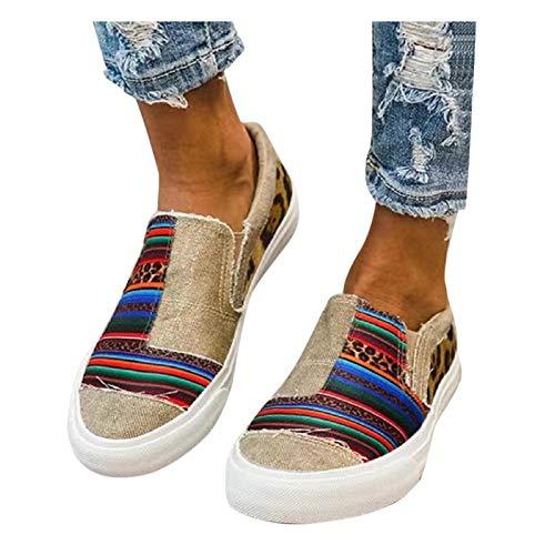 BIBOKAOKE Loafers, scarpe da ginnastica da donna, con motivo leopardato, in tela colorblock, basse, traspiranti, per il tempo libero, casual, estive, da corsa, da passeggio