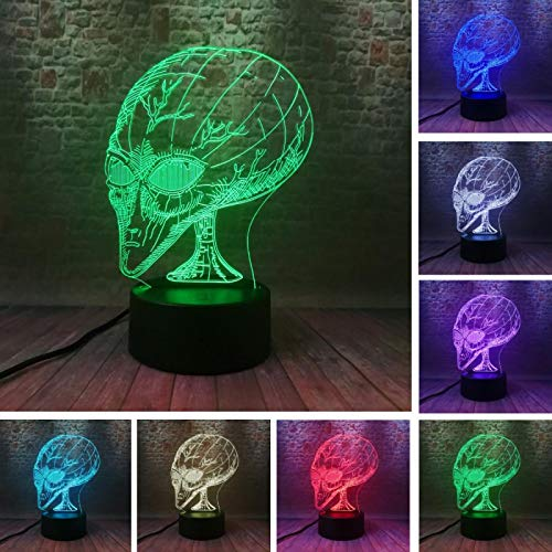 3D Led Night Light Space Alien Optical Illusion Lamp Nursery Living Room Bedroom Decoration Bedside Desk Lamp Baby Kids Birthday Christmas Gifts Toys Home Decor 16 Color Remote