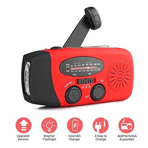 ourleeme mulit-pupose Notfall Handkurbel versorgt/Solar Powered NOAA am Radio FM mit 3-led Taschenlampe und die Bank von Macht und Alarm- und Time Display Built-in 1000mAh Akku, Rot