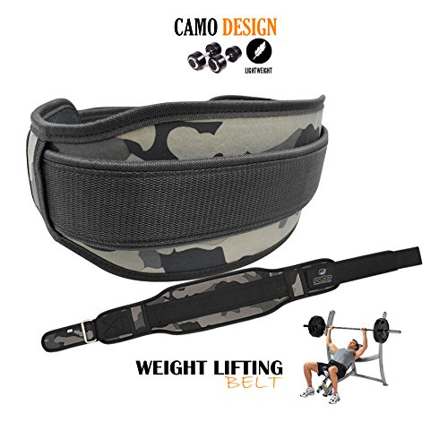 Rebo Sollevamento pesi cintura neoprene palestra fitness Body building Belt Back Support, CamoBrown, XL