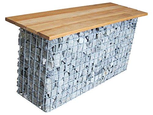 GABIONA | eckige Gabionen Sitzbank | befüllbare Steinkörbe | witterungsbeständiger Gitterkorb | Drahtkorb als Sitzbank | Made in Germany | 105 x 50 x 30 cm