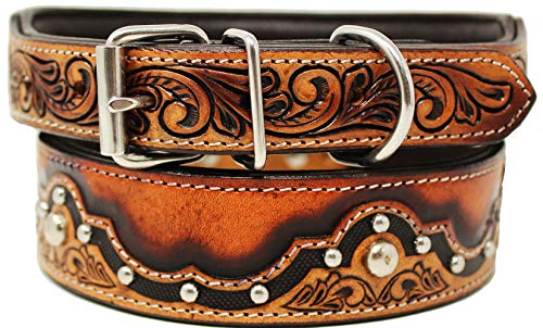 CHALLENGER Small 13''- 17'' Padded Leather Dog Collar Heavy Duty Hand Tooled Studded 60FK01