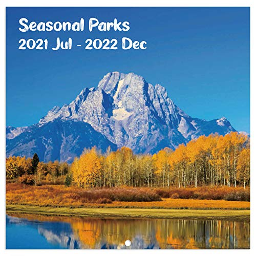 """2021-2022 Wall Calendar - 2021-2022 Monthly Square Wall Calendar with Thick Paper, July 2021 - December 2022, 12"""" x 24"""" (Open), Unruled Blocks - Seasonal Parks"""