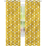 Cortina de ventana con forma de corazón amarillo y lunares (42 x 72 cm), para sala de estar