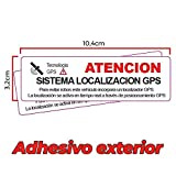 2 Pegatinas disuasorias localizador GPS vehiculos. Aviso Castellano Coches alquiler, adhesivos localizacion por satélite GPS Facil instalar (Exterior Mediana)
