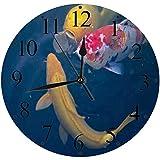 LUHUN Reloj de Pared Moderno,Colorido Acuático Koi Pez Japón Animales Fauna Silvestre Asia Asia Hermosa Carpareloj de Cuarzo de Cuarzo Redondo No-Ticking para Sala de Estar 30 cm