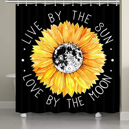 JAWO Sonnenblumen-Duschvorhang, Sonnenblume Live by The Sun Love by The Moon inspirierendes Zitat Boho Stil Duschvorhänge, Polyestergewebe Badvorhänge mit Haken waschbar 174 x 188 cm