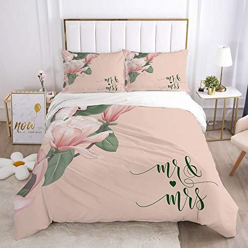 Påslakanset Rosa bakgrund växter blommorMikrofibertyg med silkesliknande känsla-innehåller 1 x sängkläder och 2 örngott - Supermjukt med dragkedjestängningsdesign 240x220cm