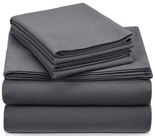 Pinzon Signature Cotton Heavyweight Velvet Flannel Sheet Set - King, Graphite