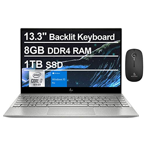 2021 HP Envy 13.3 Inch 4K UHD 2160P Touchscreen Laptop - Intel 4-Core i7-1065G7 up to 3.9 GHz - 8GB Memory - 1TB SSD - Backlit KB - Webcam - WiFi - Win10 Pro + NexiGo Wireless Mouse Bundle