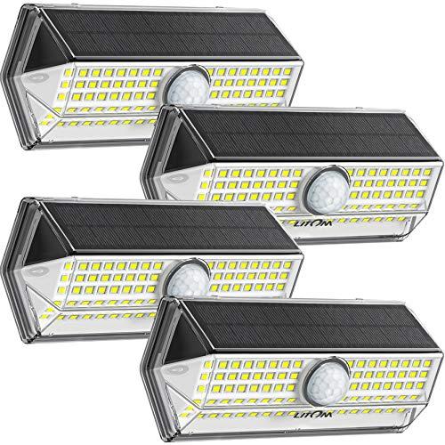 Lampe Solaire Extérieur【2020 Mise à niveau 4 modes】LITOM 100 LED Lampe solaire exterieur detecteur de mouvement IP67 Etanche Grand Angle 270°Lumiere Solaire Exterieur pour Jardin 4 Pack