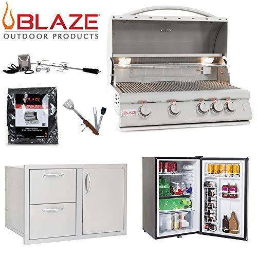 """Blaze LTE 4-Burner 32"""" Natural Gas Grill w/Stainless Front Fridge, Door and Drawer Combo, Rotisserie Kit, Grill Cover & 5in1 BBQ Tool Gas Grills Natural"""