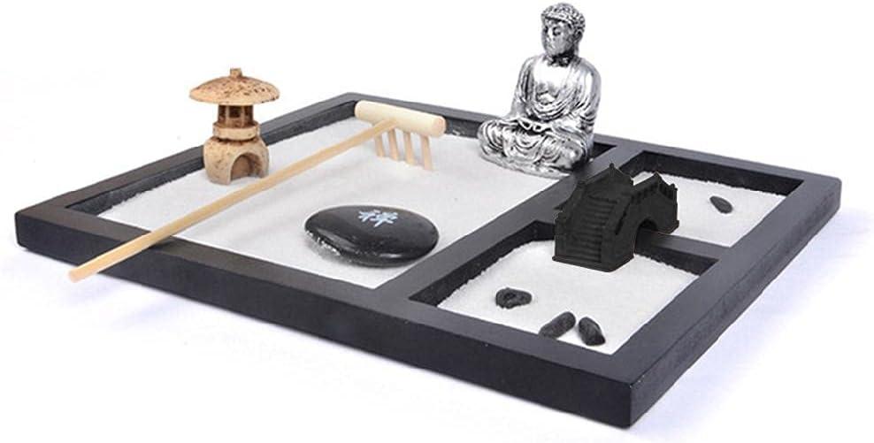 xllLU Jardín japonés Zen para escritorio de 20 x 17 cm bandeja de madera grande arena blanca Río Rocas Rastrillo Herramientas Set Oficina Mesa Accesorios Meditación Regalo Arena Blanca