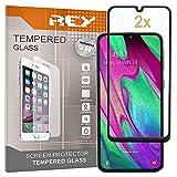 REY Pack 2X Panzerglas Schutzfolie für Samsung Galaxy A40, Schwarz, Bildschirmschutzfolie 9H+, Polycarbonat, Festigkeit, Anti-Kratzen, Anti-Öl, Anti-Bläschen, 3D / 4D / 5D