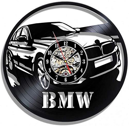 GODYS Reloj de Pared con Disco de Vinilo para Coche, diseño Moderno para Tienda de Coches, decoración 3D de BMW, Reloj de Pared de Vinilo Vintage, Reloj para decoración del hogar, Regalo-E