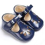 RVROVIC Baby Girls Mary Jane Flats Princess Christening Baptism Infant Crib Shoes Toddler Prewalkers (12cm (6-12 Months), A-Blue)