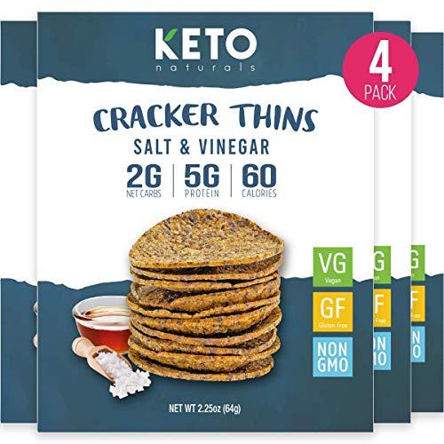 Keto Cracker Thins Low Carb Crackers, Sea Salt and Vinegar, 60 Calories Diet Friendly, High Protein Gluten Free Healthy Snacks Chips, Simple Food Ingredients, 4 x 2.26oz Packs.