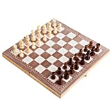 Juego de ajedrez 30cm 3in1 Juego de ajedrez de madera plegable Juego de mesa Damas Backgammon Drafts Grande Juego de ajedrez de madera hecho a mano plegable de madera, juego de actividades de tablero