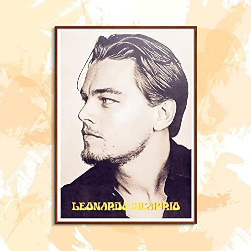 Yiwuyishi Cartel de Pintura de Lienzo de Leonardo Dicaprio, película, Estrella, Cantante, Estilo Americano, Pintura al óleo, decoración de Sala de Estar 50x70cm P-1130