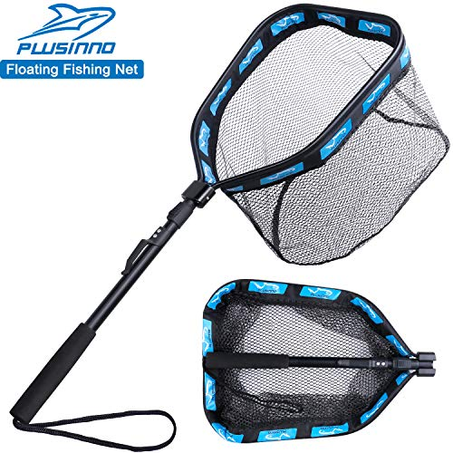 PLUSINNO Fishing Net Fish Landing Net, Foldable Collapsible Telescopic Pole Handle, Durable Nylon Material Mesh, Safe Fish Catching or Releasing