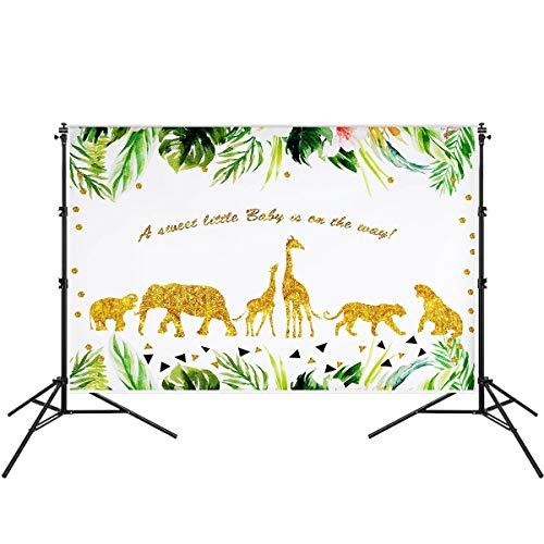 iFCOW Fotohintergrund, 17,8 x 1,5 m, für den 1. Geburtstag, Safari-Party-Dekoration, Dschungel-Thema, Party, Fotokabine, Glitzer, Wildtiere, Baby-Party, Fotografie, Hintergrund, Studio-Requisiten