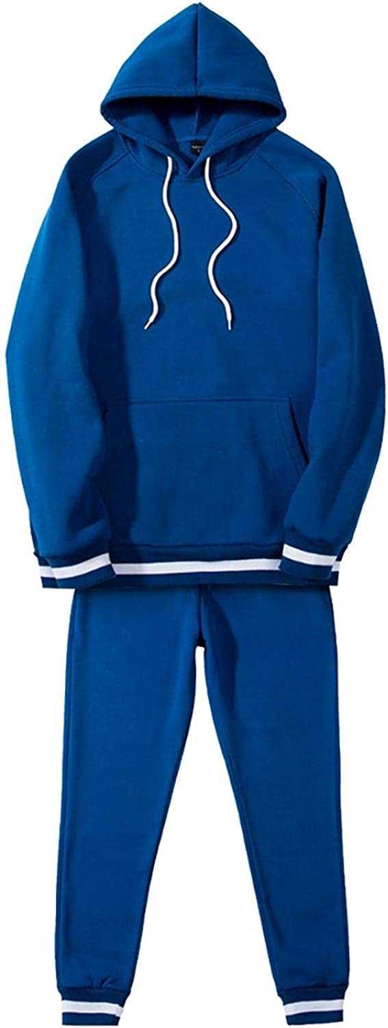 Mens 2 Piece Outfits Solid Hoodies Set Long Sleeve Drawstring Casual Hooded Sweatershirt Mid-Waist Pants