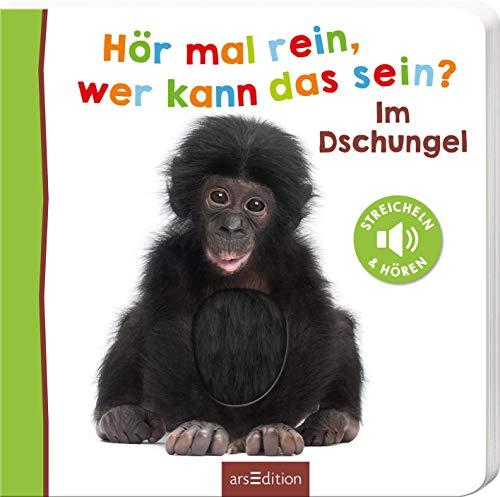 Hör mal rein, wer kann das sein? Im Dschungel: Streicheln und hören | Hochwertiges Pappbilderbuch mit 5 Sounds und Fühlelementen für Kinder ab 18 Monaten (Foto-Streichel-Soundbuch)