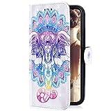 Uposao Compatibile con Samsung Galaxy Note 9 Bookstyle Portafoglio Flip Cover con Chiusura Magnetica, Sopporto Pieghevole e Tasche Interne per Carte di Credito o d'identita,Elefante Colorato