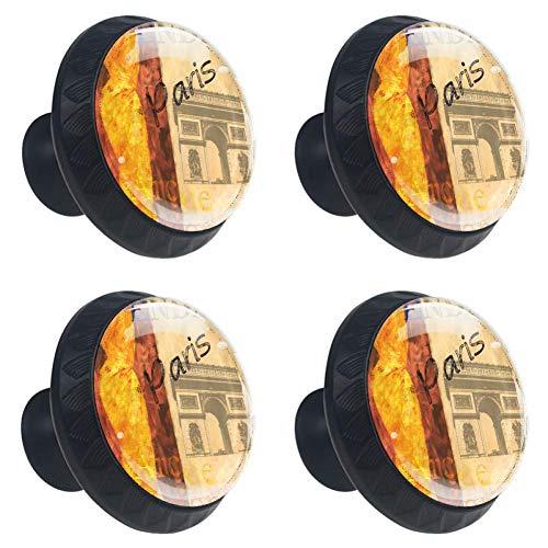 Preisvergleich Produktbild Wochenende Paris Garderobengriff Kristall Konvexe Linse mit 3D-Figuren-Display für Schubladenschrank-Ziehgriff Elegante Knöpfe zum Dekorieren von Kidsroom-Wohnzimmer-Küchenschrank-Sc... mit 4 Stück
