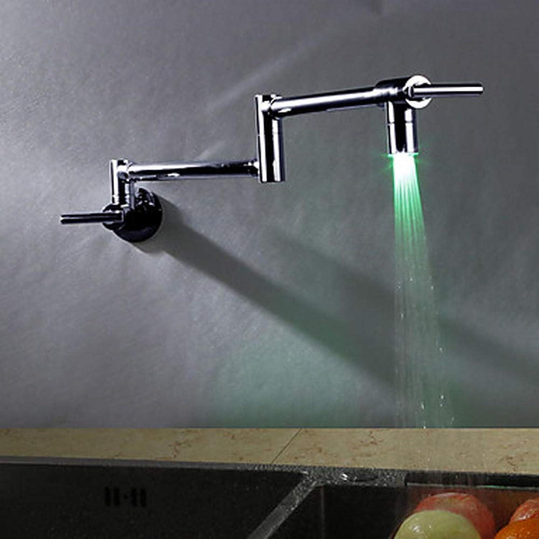 LLLYZZ Küchenhahn mit doppeltem Griff, mit Chrom -Standard -Düsenwand, hngend moderner Küchenhahn
