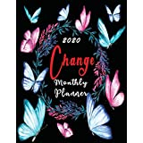 2020 Monthly Planner Change: Organizer To do List January - December 2020 Dairy Calendar Top goal and Focus Schedule Beautiful background include Holiday Grateful gift beautiful Wonderful  for Thanksgiving Black Friday Christmas Design cover Blossom (Floral Planner Focus Goal)