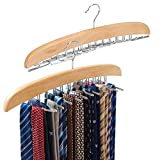 Best Tie Racks - EZOWare 2 Pack Tie Belt Hangers, Wooden Adjustable Review
