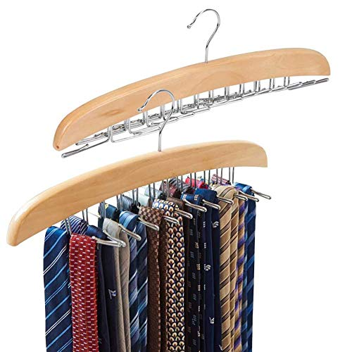 EZOWare 2 Pack Tie Belt Hangers Wooden Adjustable 24 Clip Racks Holder Hook Storage Hanging Organizer for Mens Closet Accessories - Beige